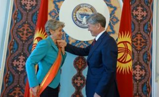 President Atambayev awards UNESCO Director General with Dank medal