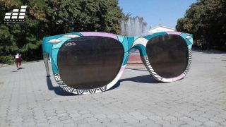 "The unknown vandalize art object ""Glasses. Point of view"" again"